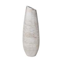 Vase asymétrique blanc/gris en céramique texturée, 19,5''