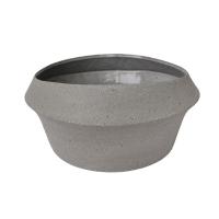 Vase bas en céramique grise, 5,5 x 12 x 12''