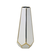 White & Gold Faceted Vase, 11''