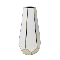 White & Gold Faceted Vase, 14''