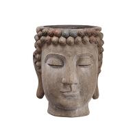 Vase bouddha, ciment 16,75 x 14,5 x 14,5''