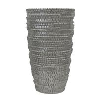 Vase carrelé en fibre de verre argent 20''