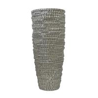 Vase carrelé en fibre de verre argent 27''