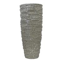Vase carrelé en fibre de verre argent 38''