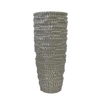 Vase carrelé en fibre de verre champagne 27''