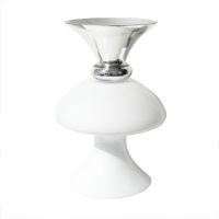 White top and silver  base glass vase 18 x 10 x 10''