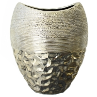 Vase dorée deux tons en céramique 8,5 x 8 x 10,5''