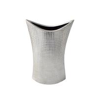 Vase moderne en céramique argent, 12 x 6,5 x 3''