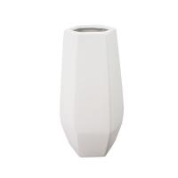 Vase en céramique blanc mat 4,5 x 4,5 x 10,5''