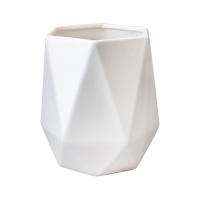 Vase en céramique blanc mat, 8''