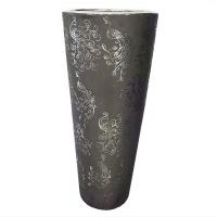 Vase en céramique gris 6,5 x 6,5 x 15,5''