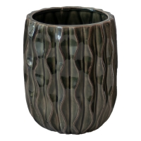 Textured Black Ceramic Vase, 7.5 x 5 x 5''