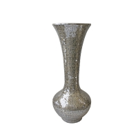Vase en mosaique miroir argent 20,5x20,5x45''