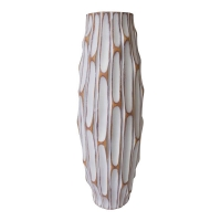 Tall white textured vase, 14''