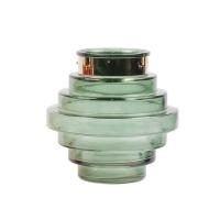 Aqua glass vase, 9 x 9 x 9''