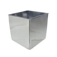 Silver glass square vase 4 x 4 x 4''