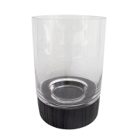 Clear glass vase with black base 10 x 7 x 4''