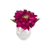 Vase en verre avec Dahlia fushia 5,5''