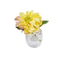 Vase en verre avec Dahlia jaune 5,5''