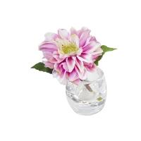 Vase en verre avec Dahlia rose 5,5''