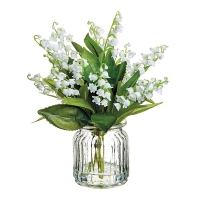 Lilies of the Valley in Glass Vase, 9''