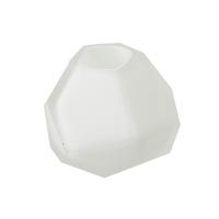 White glass vase, 3 x 3 x 2.5''