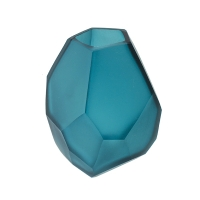 Vase en verre bleu,  3 x 3 x 5''