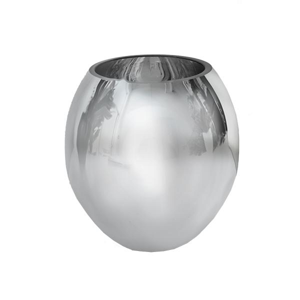 Chrome Sphere Glass Vase 6 X 4 X 6 Veronneau Plants And Decor