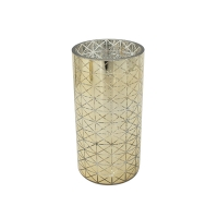 Gold design cylindrical glass vase 8 x 4 x 4''