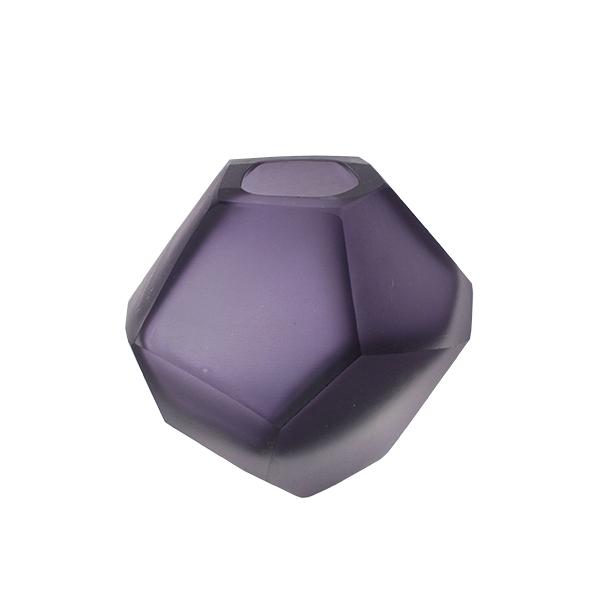 Purple Glass Vase 3 X 3 X 25 Veronneau Plants And Decor