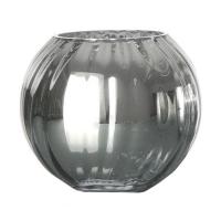 Vase de verre rond, chrome 7 x 5 x 8''
