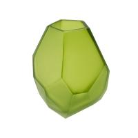 Green glass vase,  3 x 3 x 5''