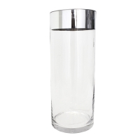 Cylinder glass vase with a silver finish 10x4x4''