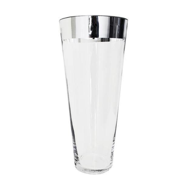 vase en vitre cylindre fini argent 5x5x11 39 39 d cors v ronneau. Black Bedroom Furniture Sets. Home Design Ideas