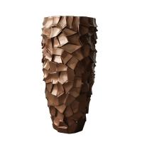 Vase fibre de verre brun café 27''