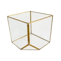 Geometrical glass vase with gold metal contour 9 x 6 x 8''