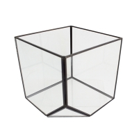 Geometrical glass vase with black metal contour 10 x 4 x 5''