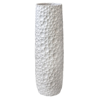Glossy White Textured Ceramic Vase, 25,5''