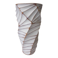 Modern white striped vase