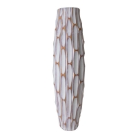Tall white textured vase, 19,5''
