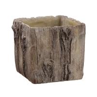 Vase imitation écorce en ciment 7 x 7 x 7''