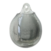 Grey glass wall vase, 7 x 3 x 10''