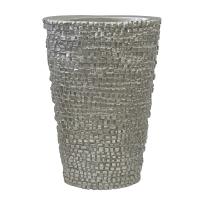 Vase oval carrelé en fibre de verre argent 24''