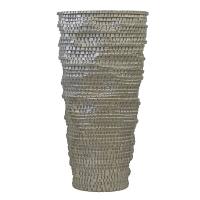 Vase oval carrelé en fibre champagne lustré 31''