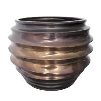 Round bronze ceramic vase 11,5 x 11,5 x 8,8''