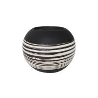 Bougeoir en céramique noire et blanche, 5,5''