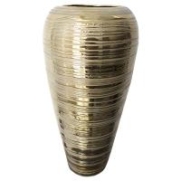 Vase rond en céramique texturée dorée 7,3 x 7,3 x 14''