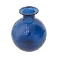 Vase rond en verre bleu foncé 10 x 2 x 8''