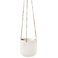Matte Ivory Hanging Planter, 5x5''