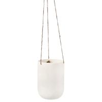 Matte Ivory Hanging Planter, 7x5''